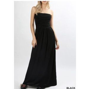 Strapless Maxi with Pockets - Black